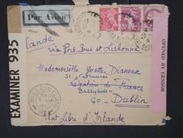 FRANCE-Enveloppe  De Lyon Pour Dublin En 1941 Avec  Censure à Voir P6592 - Postmark Collection (Covers)