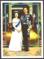 Cook-Inseln 1997 Geschichte Persönlichkeiten Royals Königin Elisabeth II. Prinz Philip Goldene Hochzeit, Bl. 208 ** - Cookinseln