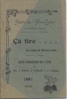 """MILITARIA  -  THEATRE  DES """" FOLIES  COCARDE """" Du 92ème RI  - """" Ca Tire ... Au Camp De BOURG LASTIC """" - 1905 - - French Authors"""