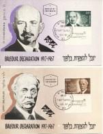 "2 Maximumkaarten Israel 1967 - ""Balfour Declaration 1917-1967"" - Maximum Cards"