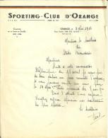 84 ORANGE LETTRE 1946 SPORTING CLUB SPORT FOOTBALL CHAMPION LIGUE SUD EST BEAUCAIRE GARD VAUCLUSE - Soccer