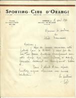 84 ORANGE LETTRE 1946 SPORTING CLUB SPORT FOOTBALL CHAMPION LIGUE SUD EST BEAUCAIRE GARD VAUCLUSE - Football