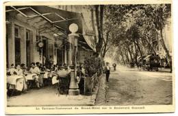 CARTE DE VISITE  04 DIGNE LA TERRASSE RESTAURANT DU GRAND HOTEL SUR LE BOULEVARD GASSENDI  Voir Verso - Cartes De Visite