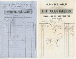 2 Factures à Entête Illustrée : Second Empire (1859/1860)  Paris - A La Tour St-Jacques & Désiré Lafillé & Legeai - Textile & Clothing