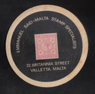 MALTA - RARE EMMANUEL SAID  MATT - WITH STAMP / 1970s RARE - Bierdeckel