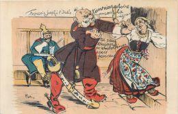 GUERRE 1914 CARICATURE FRANCAISE ANTI ALLEMANDE GUILLAUME COURTISE ITALIE CARTOON WAR VATERLANSLIEBE KRIEG PROPAGANDA - Guerre 1914-18