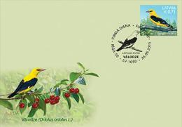 Latvia.2015 Latvian Bird - European Golden Plover Eurasian Golden Oriole 2 Stamps  Fdc - Oiseaux