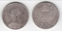 *** GREAT BRITAIN - GRANDE-BRETAGNE - 6 PENCE 1891 - SIX PENCE 1891 - VICTORIA - SILVER - ARGENT *** ACHAT IMMEDIAT !!! - 1816-1901 : Frappes XIX° S.