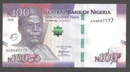 NIGERIA  :  100 Naira 2014 - ( Commemorative Centenary 1914 - 2014)  - UNC - Nigeria