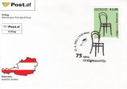 """2002 FDC, """"Design Austria, Thonet - Stuhl, Nr. 14"""", Mit Sonderstempel 1150 Wien - FDC"""