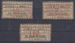 TAB-9 CUBA SPAIN ESPAÑA. TOBACCO. TICKET DE PREMIOS. FABRICA J. S. MURIAS. S.XIX. RELOJ. BOTONADURA.