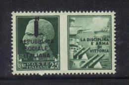 """Z999 - RSI , Propaganda Di Guerra """" La Vittoria Sarà Del Tripartito """" : Il 25 Cent Verde ** MNH - 4. 1944-45 Repubblica Sociale"""
