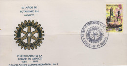 G)1971 MEXICO, ROTARY INTERNATIONAL EMBLEM, PUEBLA´S CATHEDRAL-MEXICO TURISTICO, ROTARY CLUB 50 YEARS IN MEXICO, FDC, XF - Mexico