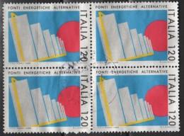 1980 Italia 1485 Energia Alternativa £120 Quartina Usata - 6. 1946-.. República