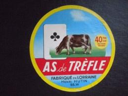 Ancienne étiquette De Fromage  Lorraine Henri Hutin  As De Trèfle 55W  La Croix Sur Meuse   Vache Carte à Jouer - Fromage