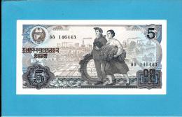 KOREA, NORTH - 5 WON - 1978 - P 19.e - UNC. - BLACK Serial # - Large Numeral 5 In BLUE Guilloche - 2 Scans - Korea, Noord