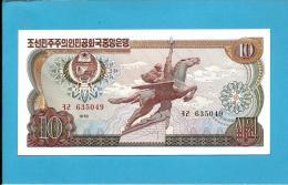 KOREA, NORTH - 10 WON - 1978 - P 20.a - UNC. - RED And BLACK Serial # - NO Seal - For General Circulation - 2 Scans - Korea, North
