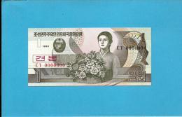 KOREA, NORTH - 1 WON - 1992 - P 39.s - UNC. - SPECIMEN - 0000000 - Real RADAR Number - CAPICUA REAL - Korea, North