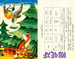 QSL-Karte Sowjetunion Ukraine Dnepro RB4EXF 1988 Funkkarte Card Fuchs Fox Funkkarte Amateur Radio Renard Volpe - QSL-Karten