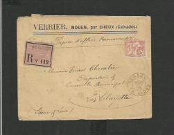 Enveloppe Recommandée 1903 à Verson Calvados - Verrier, Mouen Par Cheux - 1877-1920: Période Semi Moderne