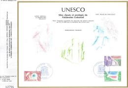 Sur Feuillet CEF , FDC Paris 1980 . UNESCO : Sites Classés Et Protégés Du Patrimoine Universel. Gorée , Haiti ,Pakistan - UNESCO