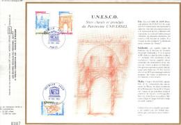 Sur Feuillet CEF , FDC Paris 1980 . UNESCO : Sites Classés Et Protégés Du Patrimoine Universel. Fès , Malte , Sakhotaï - UNESCO