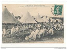 ENVIRONS DE TOUL UNE ALLEE DE TENTES L HEURE DU REPOS AU CAMP DE BOIS L EVEQUE CPA BON ETAT - Regiments