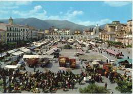 Abruzzo-l'aquila-sulmona Veduta Mercato Piazza Garibaldi Animatissima - L'Aquila