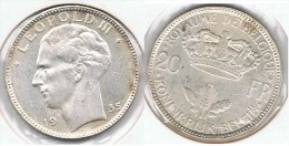 BELGICA 20 FRANCS 1935 PLATA SILVER D61 - 1934-1945: Leopold III