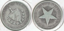 CUBA 40 CENTAVOS PESO 1915 PLATA SILVER D72 - Cuba