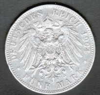 ALLEMAGNE, PREUSSEN, 5 MARK 1904 A - [ 2] 1871-1918: Deutsches Kaiserreich
