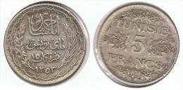 TUNEZ 5 FRANCS  1303 PLATA SILVER - Túnez