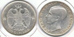 YUGOSLAVIA 20 DINARES 1938 PLATA SILVER D65 - Yugoslavia