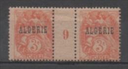 Algérie N°4**, Paire Avec Millésime 9 (1919 Papier GC) - Nuevos