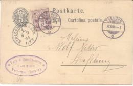 YVERDON FERS & QUINCAILLERIE A STRASSBOURG RARISIME ENTIER CIRCULEE 1884 TBE - Interi Postali