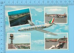Avion Airplane ( Multi-vue Aeroport International De Rome Leonardo Da Vinci, Alitalia ) 2 Scans - 1946-....: Modern Era