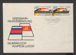 DDR Germany 1986 Letter / Brief + Mi 3052 /3 - Opening Mukran-Klaipeda Railway Ferry Service /  Eisenbahnfährverbindung - Treinen