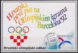 7270. Croatia, 1992, Summer Olympic Games In Barcelona, CM - Croatie