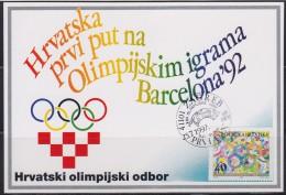 7271. Croatia, 1992, Summer Olympic Games In Barcelona, CM - Croatie