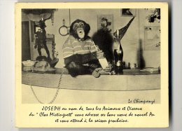 83  JOSEPH AU NOM DE TOUS LES ANIMAUX ET OISEAUX DU CLOS MISTINGUETT  -  CPM DOUBLE VOLET  1950 / 60 - Monkeys