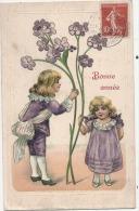Enfants Fleur Myosotis Relief / Embossed Illustrateur Bonne Année TB - 1900-1949