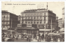 ///  CPA - Espagne - MADRID - Puerta Del Sol Y Estacion Del Metropolitano  // - Madrid