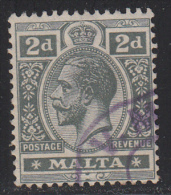 Malta 1914-21 Cancelled, Deep Slate, Multi Crown CA, Sc# , SG 75b - Malta