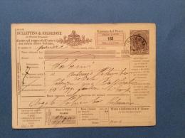 INTERO POSTALE - BULLETTINO DI SPEDIZIONE  50 C.  - DA PIETRAVAIRANO A POTENZA - 1892 - Stamped Stationery