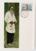 CARTE MAXIMUM CM Card USSR RUSSIA Literature Writer Leo TOLSTOY Art Painting - 1923-1991 USSR