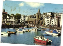 The Old Harbour And Town Church Guernsey Recto Verso Beau Timbre Avion - Guernsey