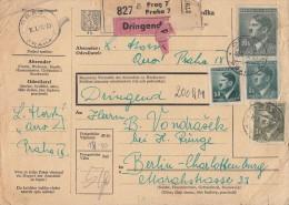 Böhmen & Mähren Paketkarte Mif Minr.92,102,104,107 Prag - Briefe U. Dokumente
