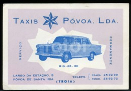 60s CARD MERCEDES BENZ 200D TAXI TAXIS PONTON VOITURE CAR POVOA SANTA IRIA PORTUGAL - Cartoncini Da Visita