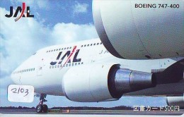 Télécarte  * JAL  (2103) Phonecard Airplane * Flugzeug Avion * AVION * AIRLINES * - Flugzeuge