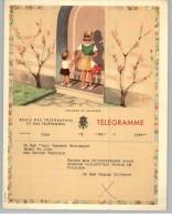 011911 LUXURY TELEGRAM # B18 (F)- BACK STAMPTED RECTANGULAR TELEGRAPH CANCEL- VERVIERS/T 15 VII 1954 T/ *   * - Stamped Stationery